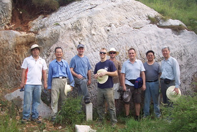 R to L: Xuelei Chu, Chao Li, Gordon Love, Chris Reinhard, Noah Planavsky and Timothy Lyons take a break during sampling in north China with two colleagues from the Institute of Geology and Geophysics of the Chinese Academy of Sciences.  Photo credit: Chu Research Group, Institute of Geology and Geophysics, Chinese Academy of Sciences.