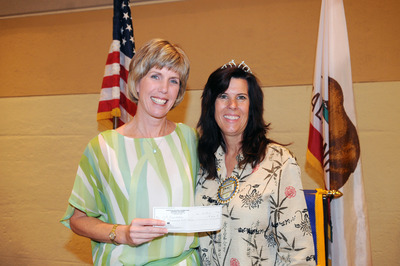 Karen White with Tracy Youden, president of the Rotary Club of Riverside.