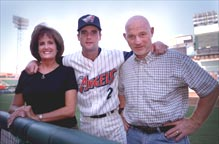 Adam Kennedy with his parents, Susan and Tom.