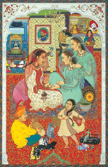 Nyrmla's Wedding II, 1985/6, poster colour, gouache and gold dust on mount board<br />