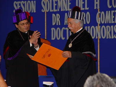 Ceremony in which Arturo Gomez-Pompa Received an honorary doctorate from the Universidad Autonoma Del Estado de Morelos