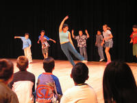 UCR dancers work with school children at the 2004 Gluck Day of the Arts