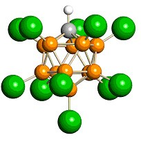 Carborane, part of the world's strongest acid. [Atom color code: orange = boron, gray = carbon, green = chlorine, white = hydrogen.]
