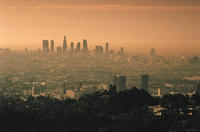 The Los Angeles skyline on a smoggy day